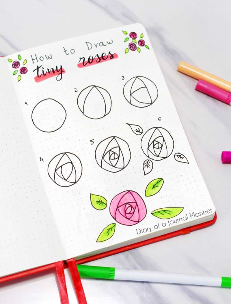how to draw small roses flowers