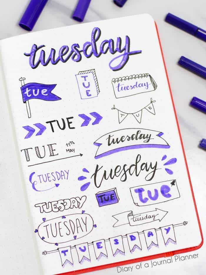 Tuesday Bujo banner Ideas