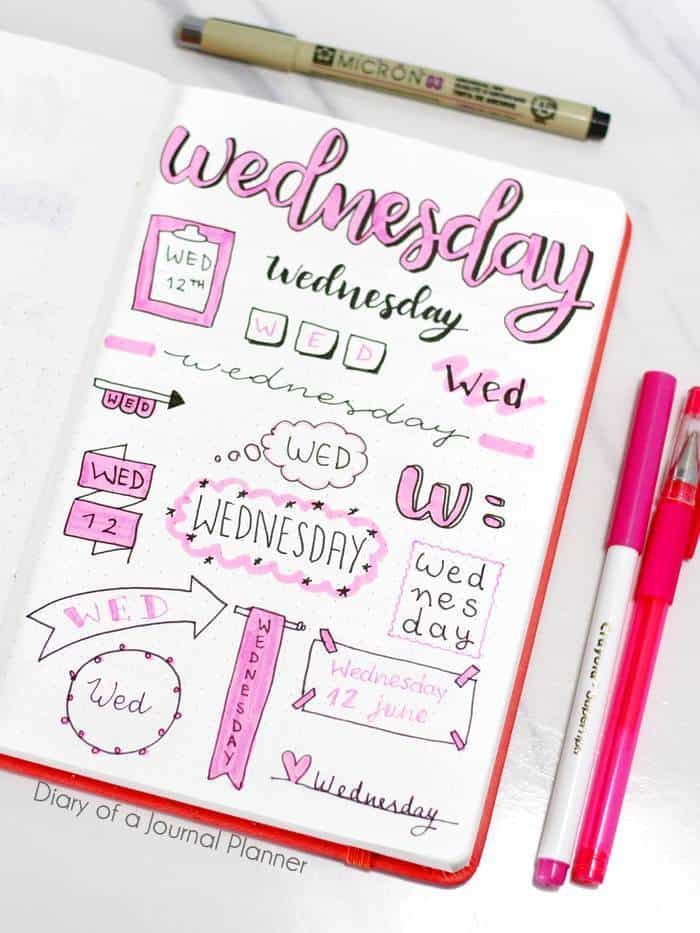 Wednesday bujo title ideas