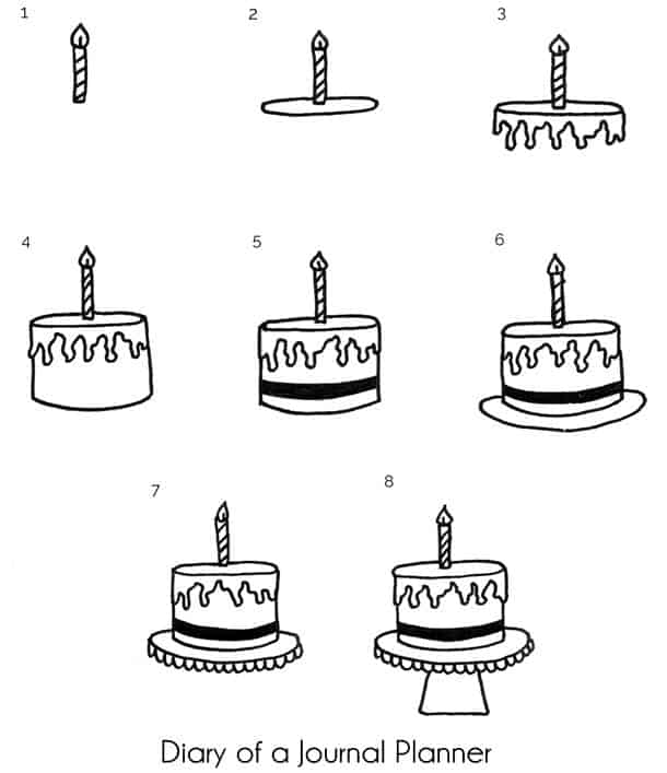 Birthday cake doodle step by step tutorial