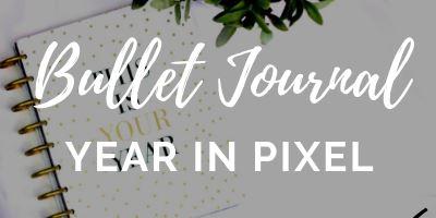 bullet journal a year in pixel spread