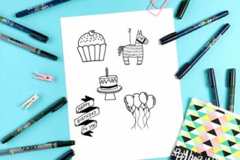 Happy birthday doodle tutorials with step by step instructions.