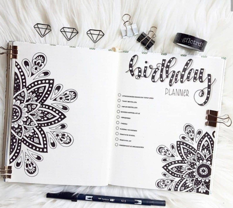 Plan birthday with Bullet journal