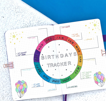 Bullet Journal Tracker for birthday