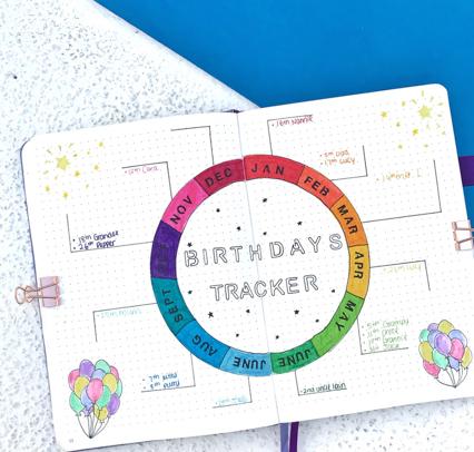 Bullet Journal Tracker for birthday