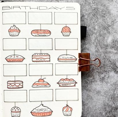 Bujo Birthday Calendar
