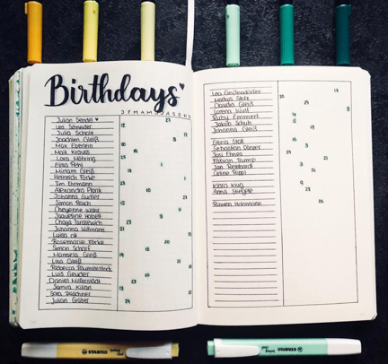 Bujo Birthday Tracker