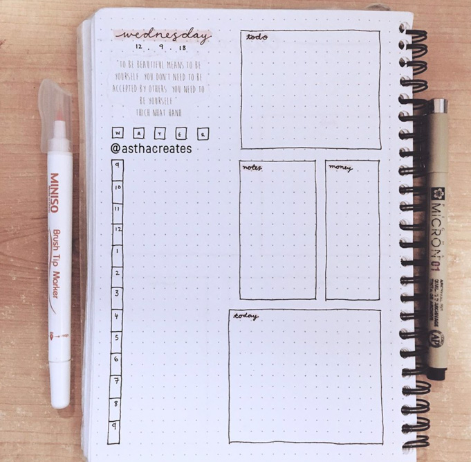 Daily spread for Bullet Journal