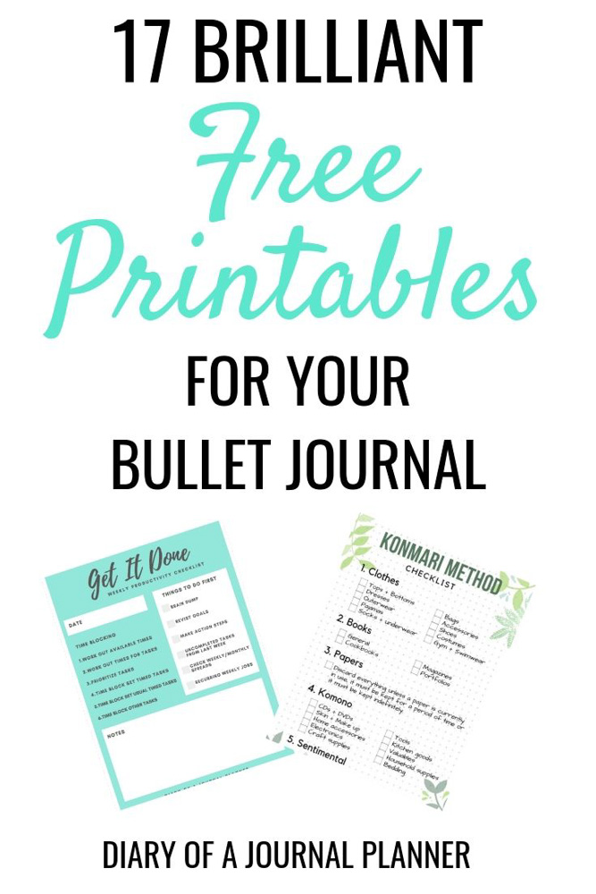 15+ Totally FREE Bullet Journal Printable To Organize Your Life