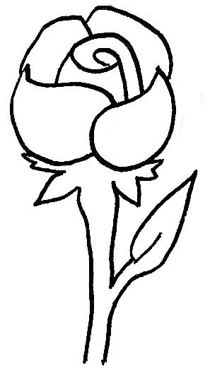 single red rose drawing