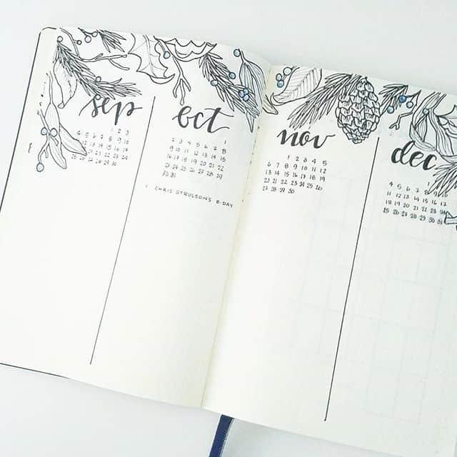 Bullet Journal Calendar Layout