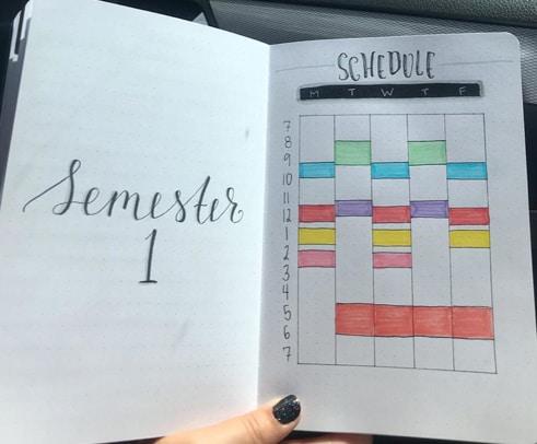 School Spread for Bullet Journal