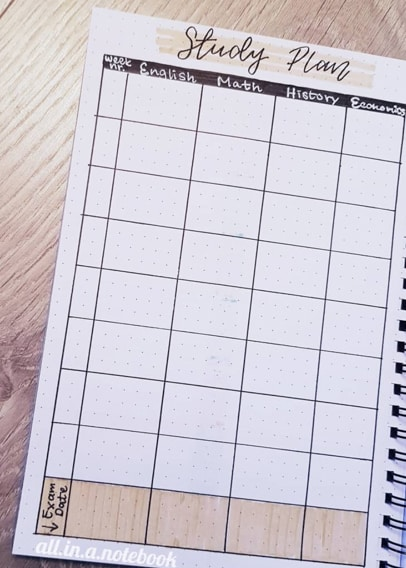 Study Schedule Spread for Bullet Journal