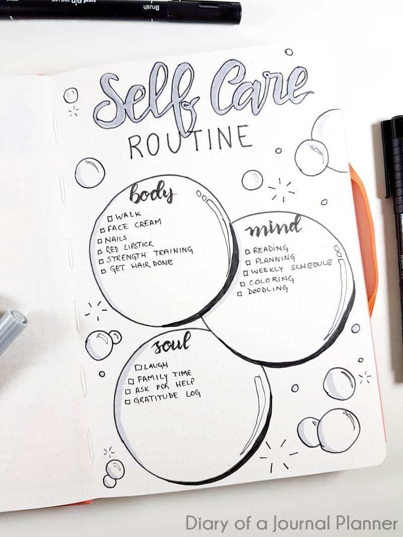 Bullet journal self care list