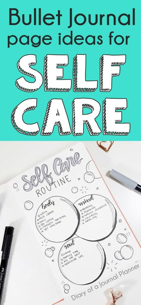 Best layout and trackers for self care in your bullet journal, self care bujo page, self care spread, self care routine, selfcare bujo list, bullet journal self-care checklist, self improvement log, daily self care challenge and goals.#bulletjournal #bujo #selfcare #bujocommunity