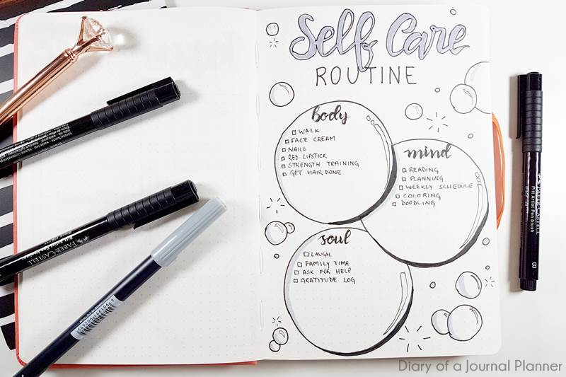 Self care bullet journal pages