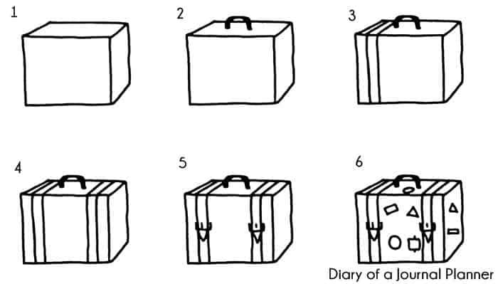 vintage luggage doodle tutorial