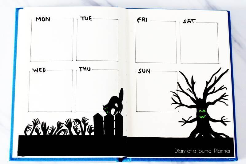 Halloween bullet journal spreads