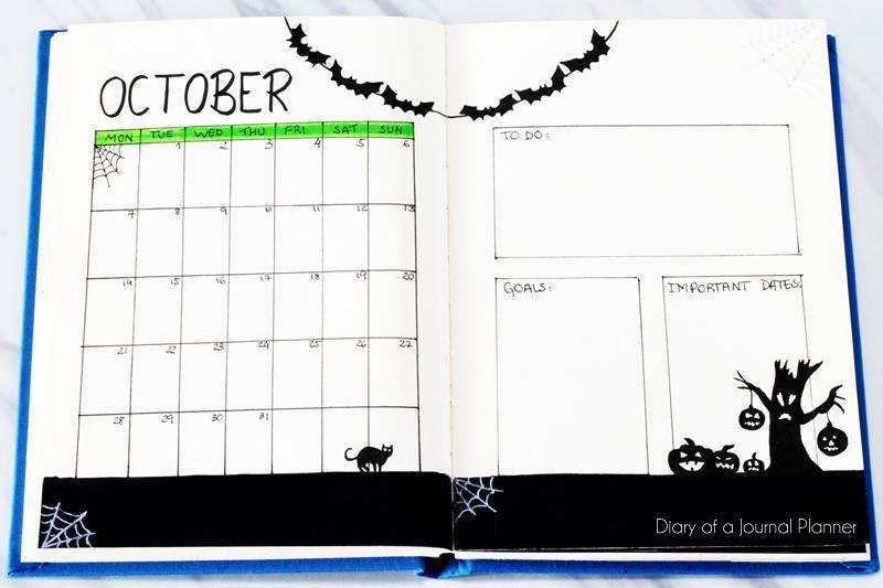 Halloween bullet journal spread
