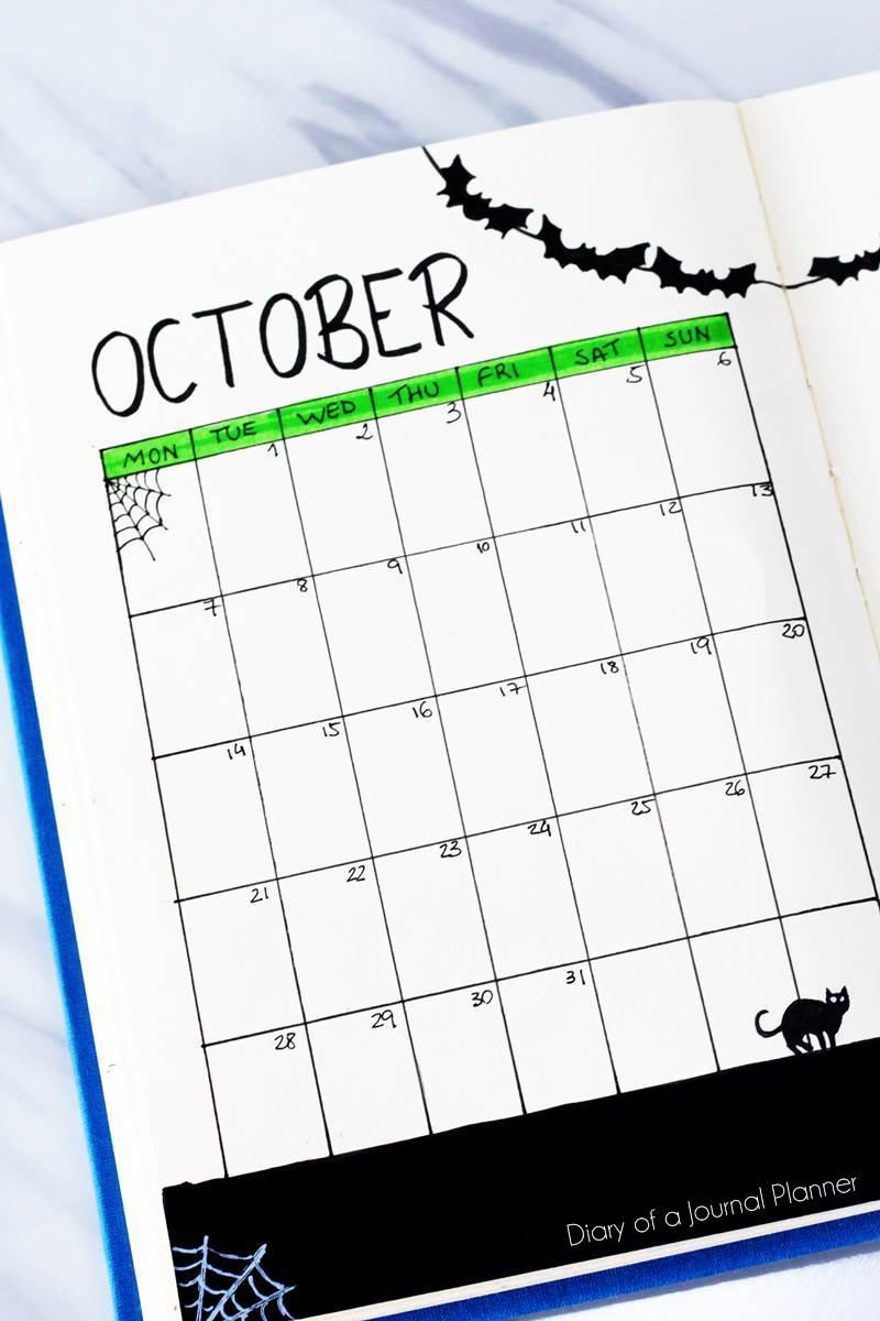 October bullet journal calendar
