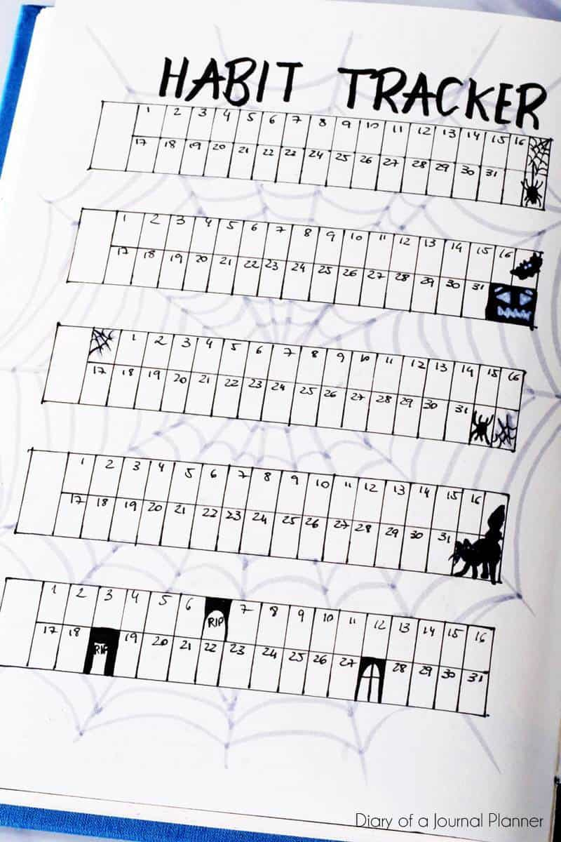 Halloween bullet journal habit tracker