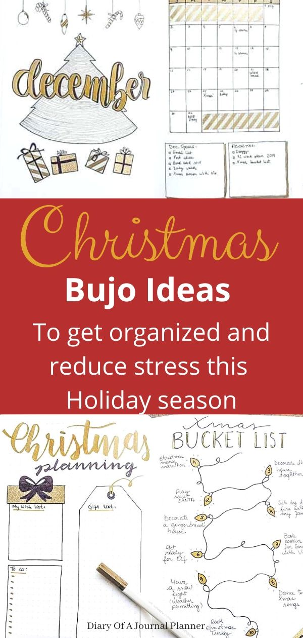 Christmas spread ideas for Bullet Journals