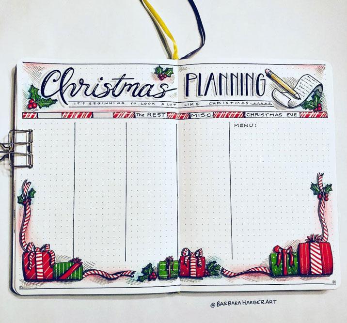 Christmas Bullet Journal Spread