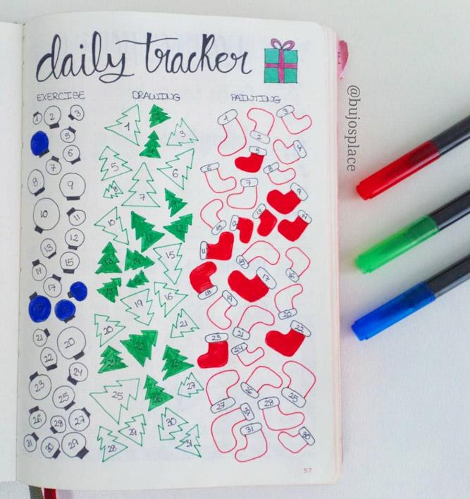 tracker inspiration for Christmas journal