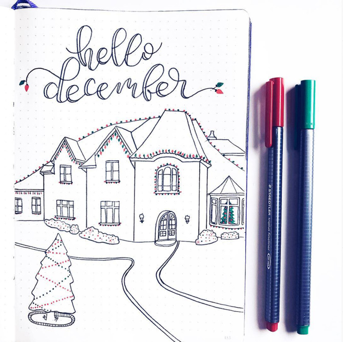Holiday Bullet Journal Monthly Cover