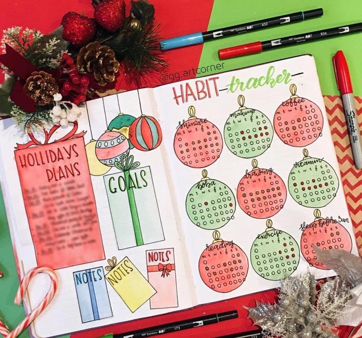 Festive habit tracker idea