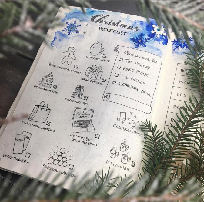 bujo bucket list christmas bujo
