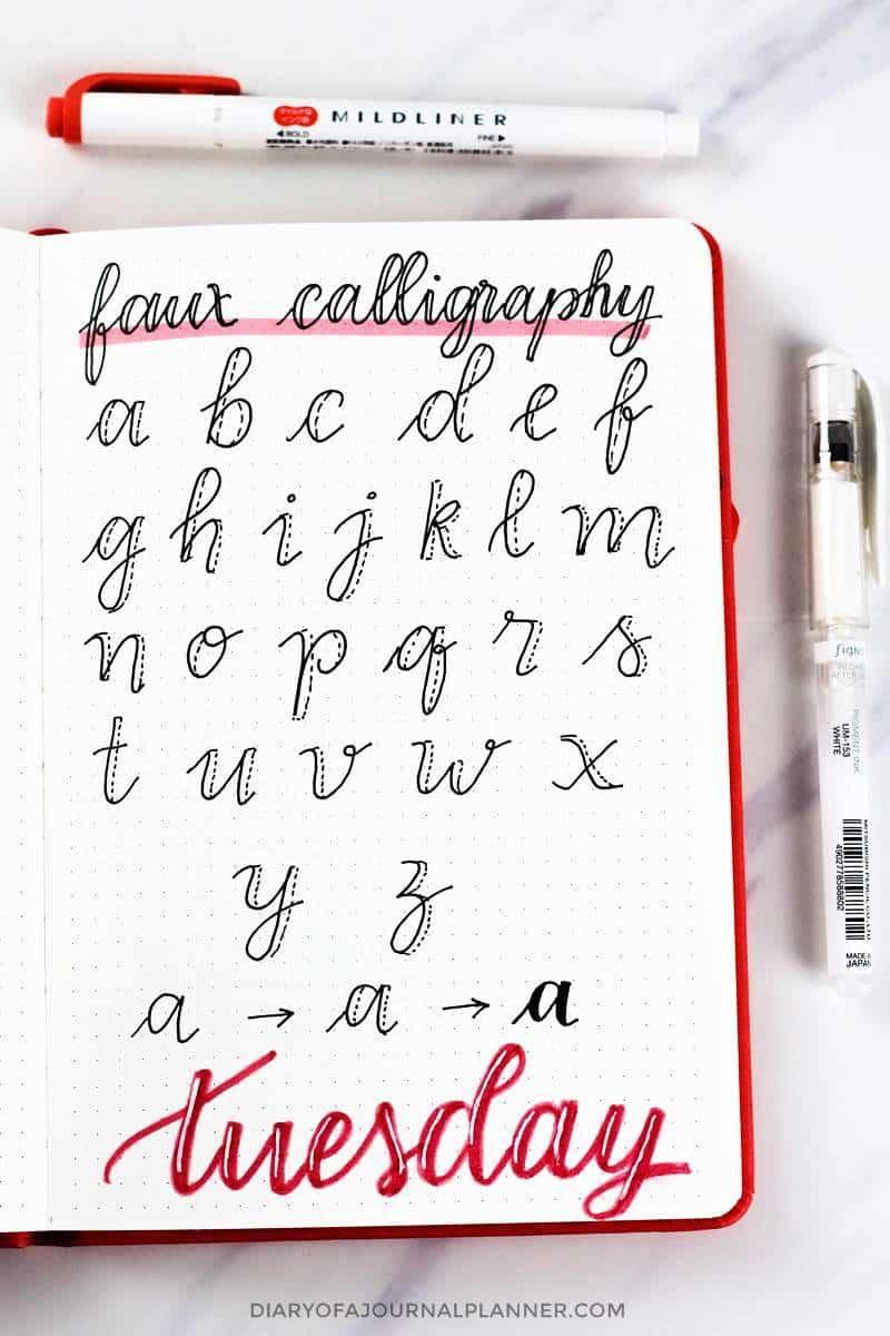 faux calligraphy alphabet