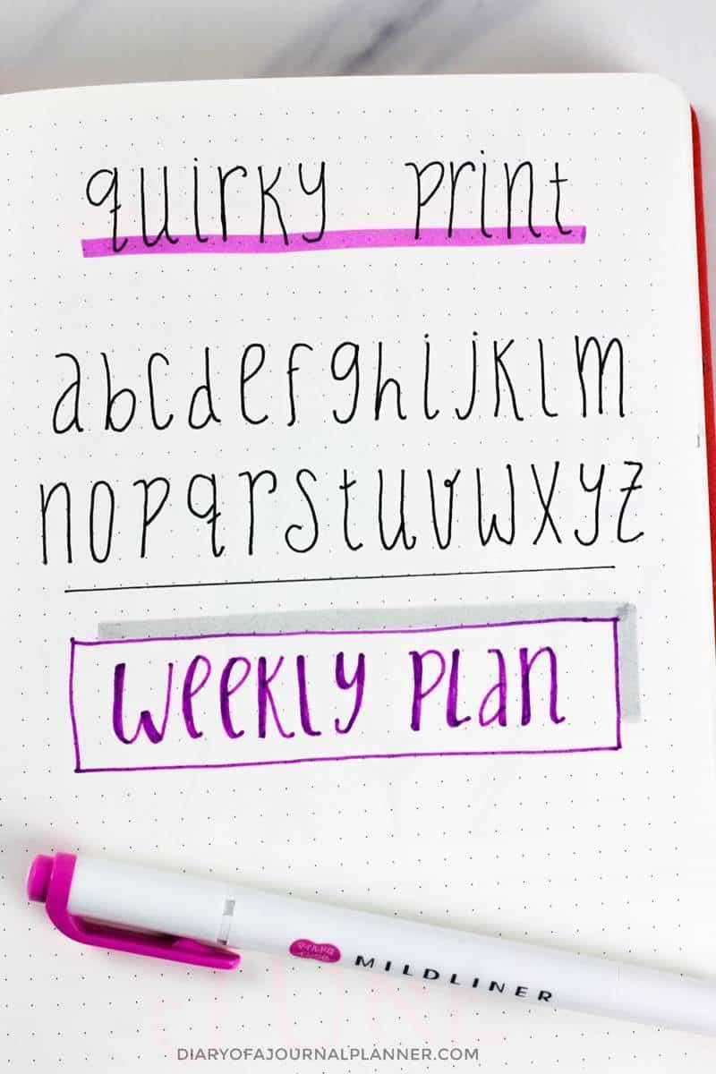 print bullet journal handwriting