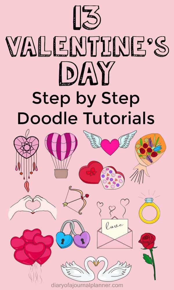 How to draw valentine's day doodles