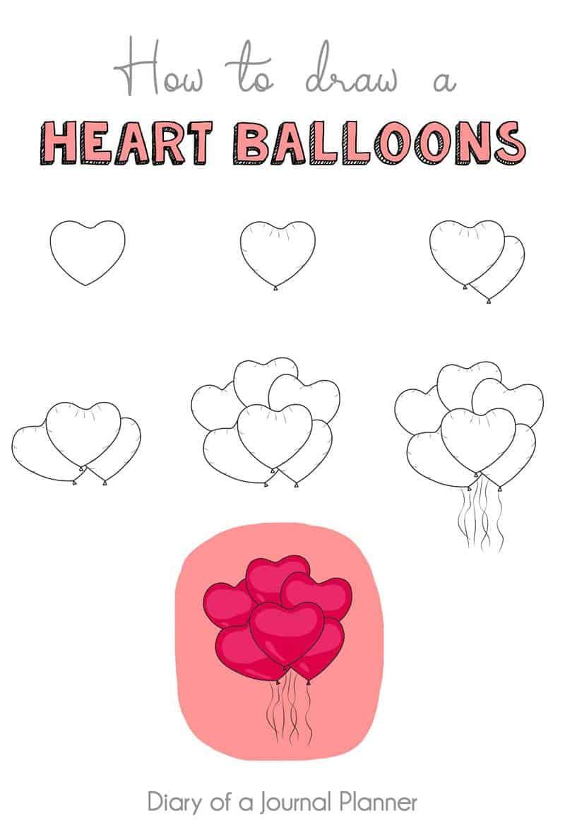heart balloons doodle