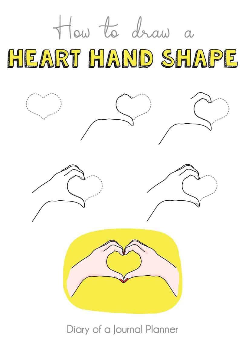 heart hand shape doodle
