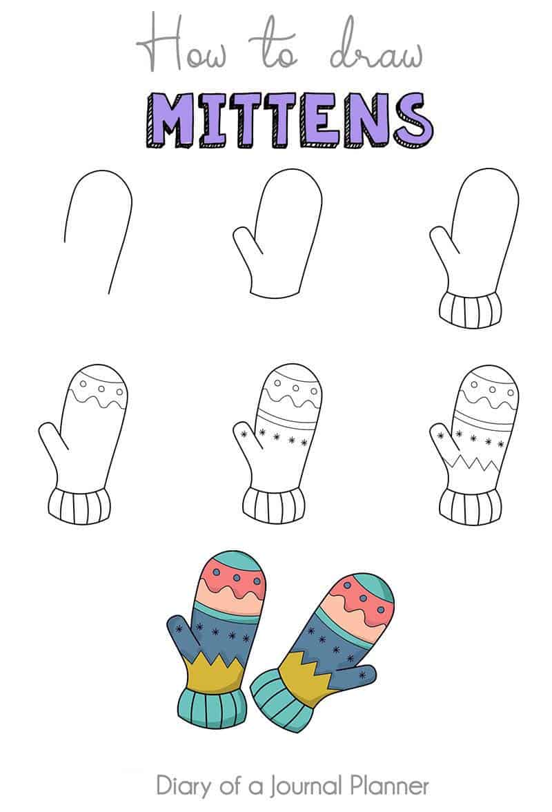 how to draw mittens