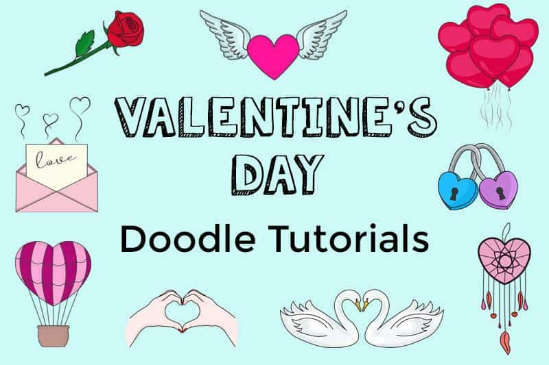 Easy valentine's day doodles with step by step instructions