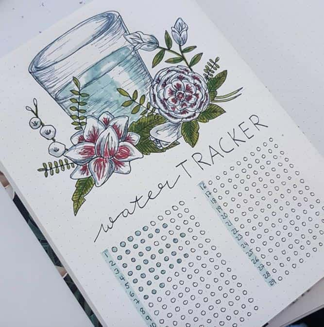 How To Track water intake with bullet journal