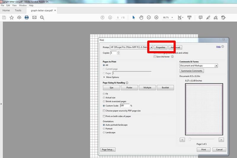 resize paper on properties settings