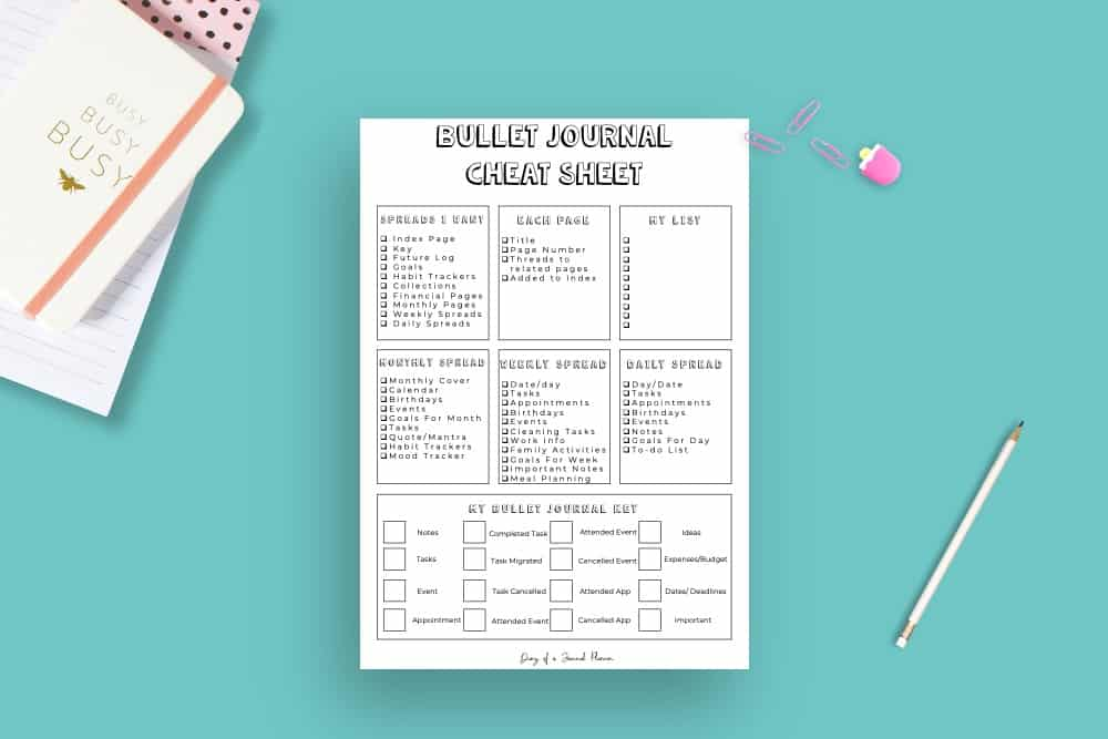 How To Create Your Best Bujo With A Bullet Journal Cheat Sheet With Free Printable