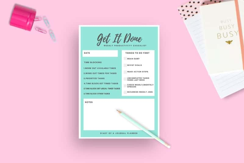 Productivity Planner page