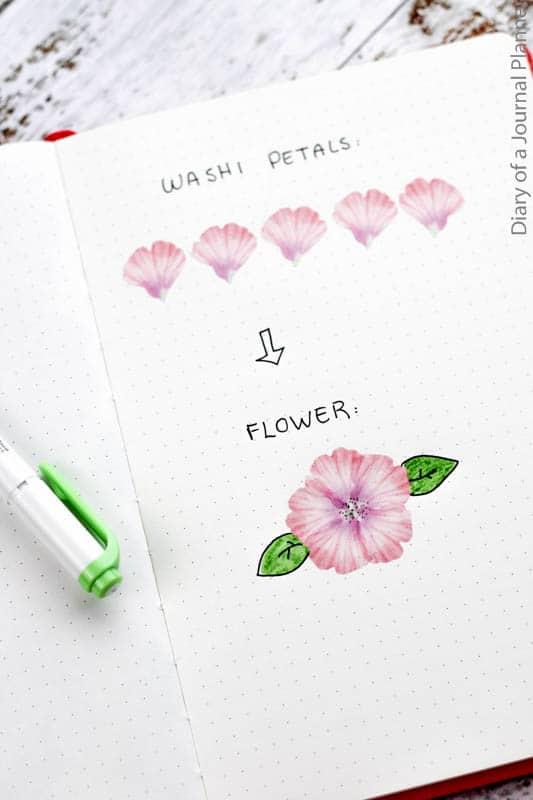 Washi tape flower petals