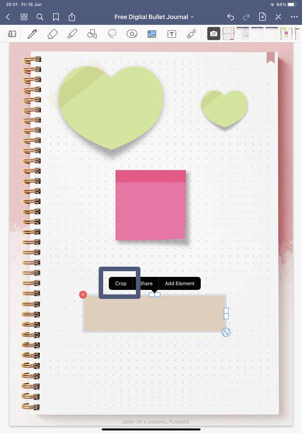 cropping digital journal stickers