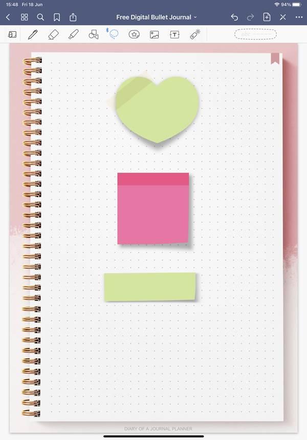 Digital bullet journal stickers