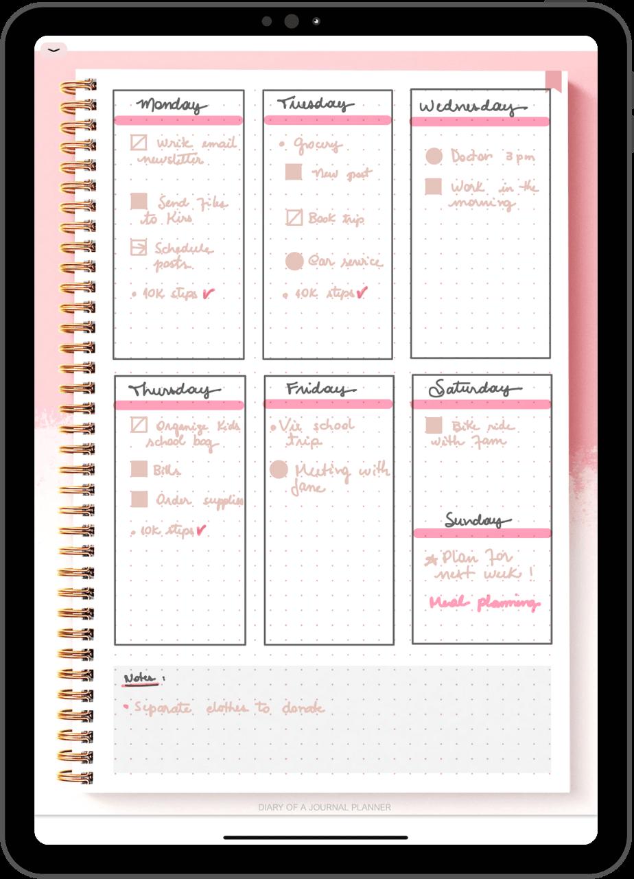 Digital Bullet Journal template